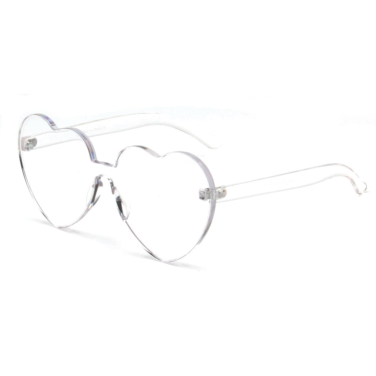 Clear Heart Rimless Sunglasses