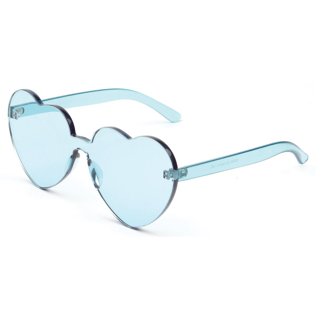 Light Blue Rimless Heart Sunglasses