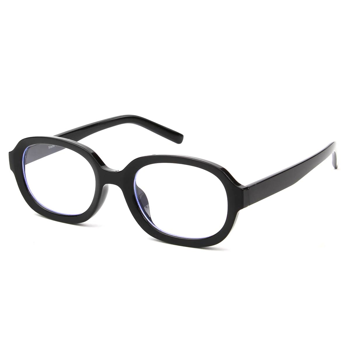 Black Oval Frame Blue Light Blocking Glasses