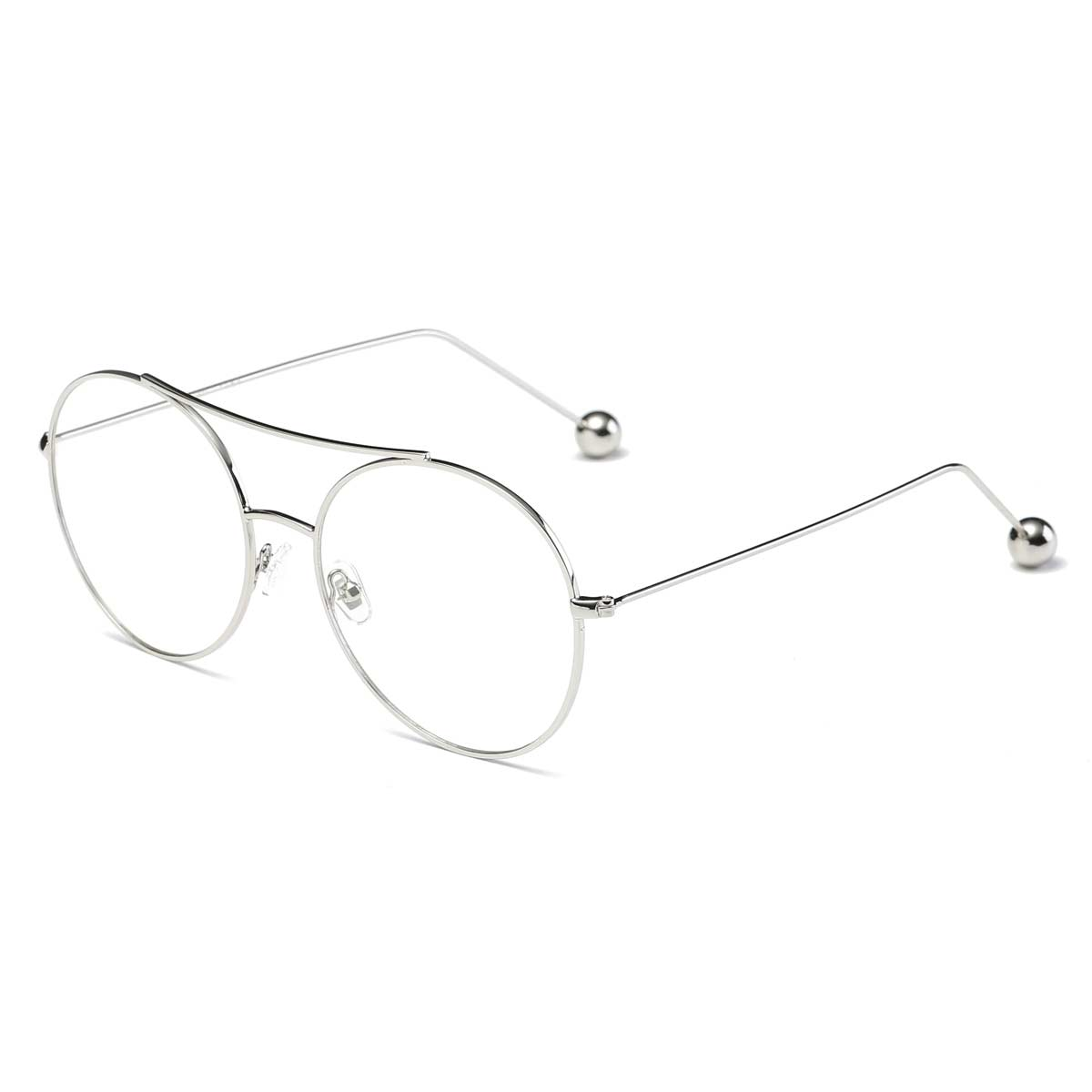 Classic Round Silver Wire Frame Blue Light Blocker Glasses