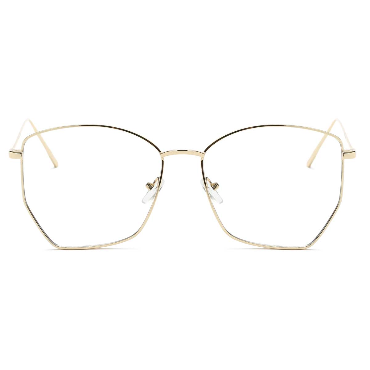 Geometric Gold Wire Frame Blue Light Blockers