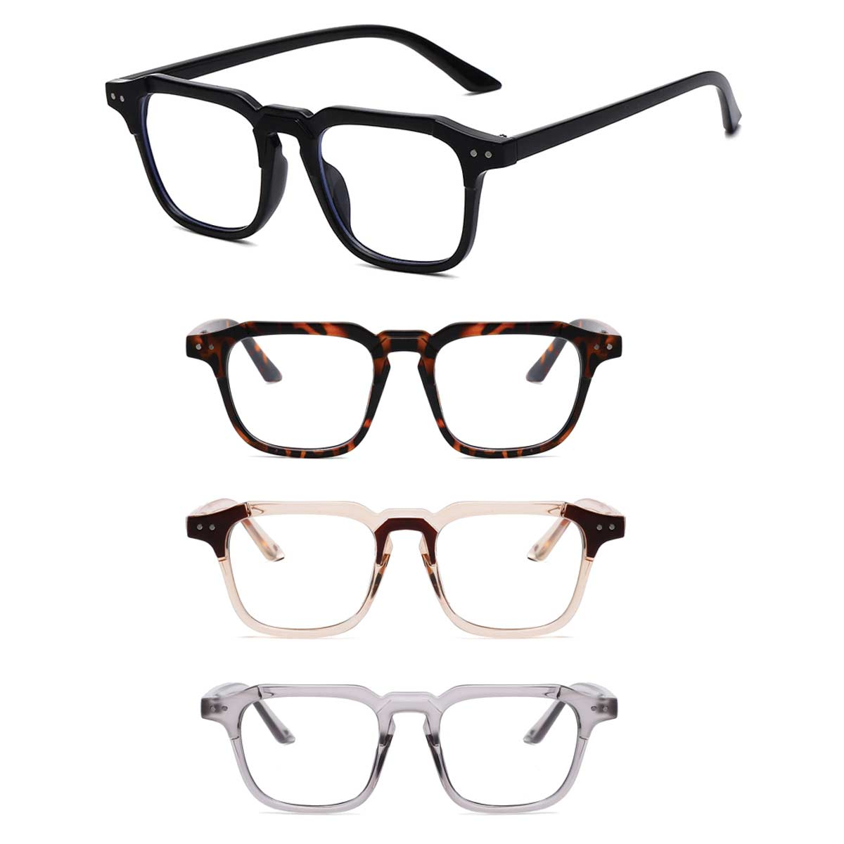 Rectangle Accent Frame Blue Light Blocking Glasses