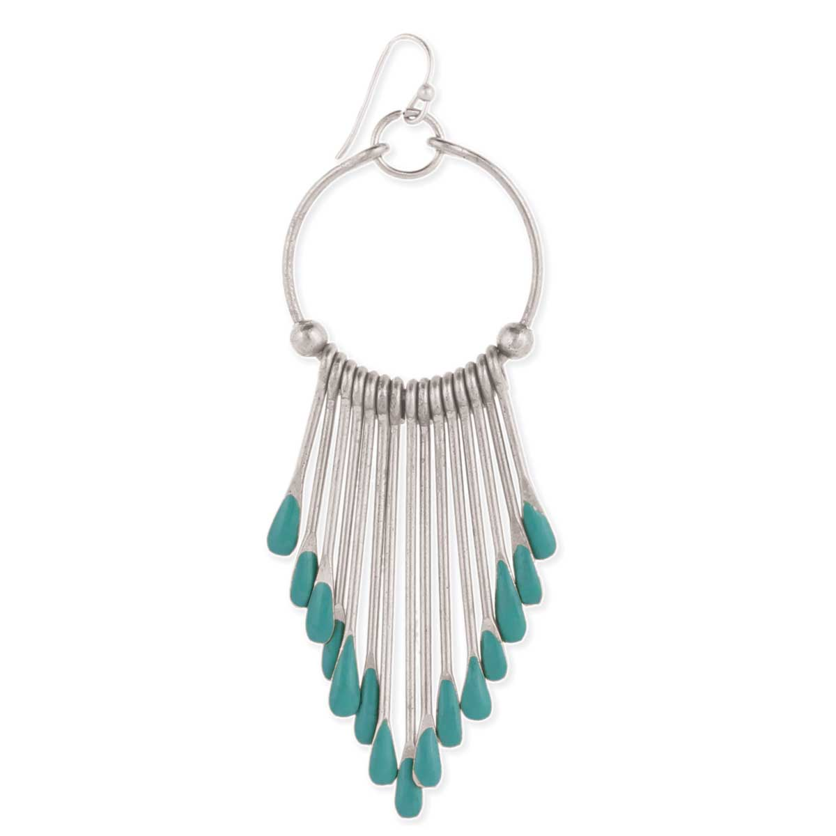 Silver Turquoise End Paddle Earring