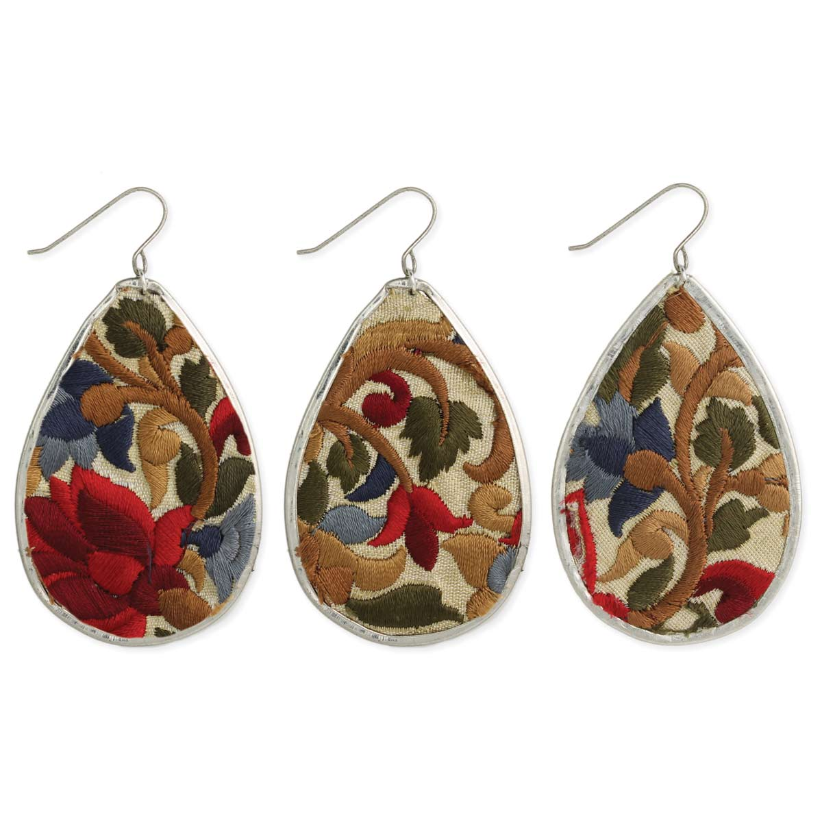 Red Embroidered Floral Fabric Teardrop Earring