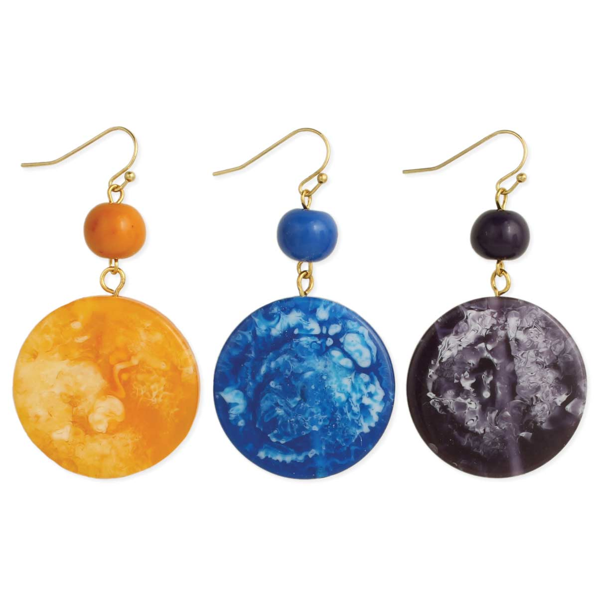Round Marbled Resin Earrings