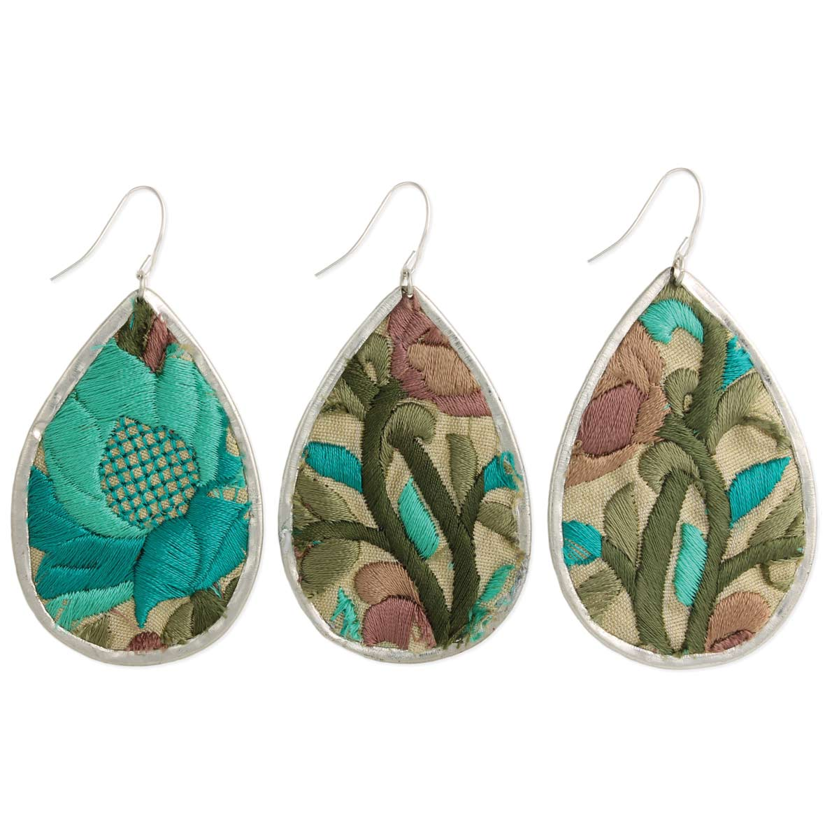 Turquoise Floral Embroidered Teardrop Earring