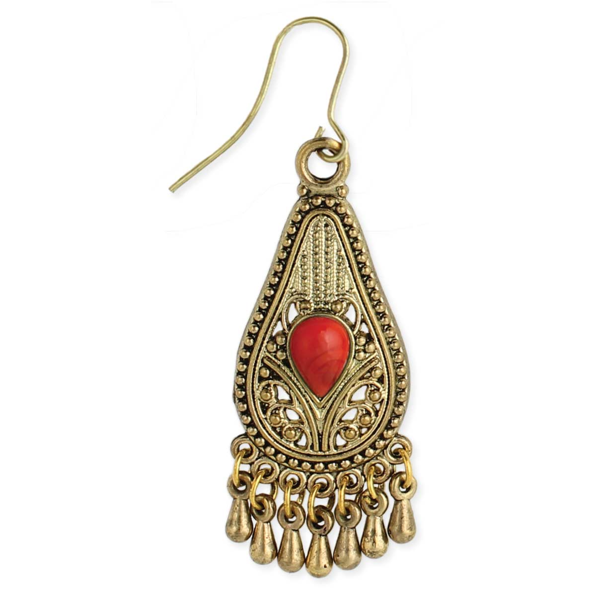 Red Bead Gold Teardrop Earring