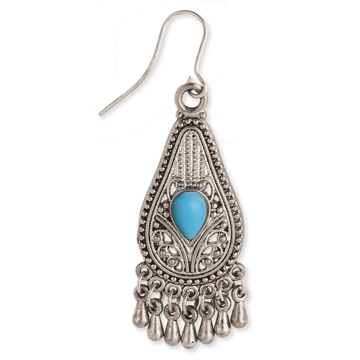 Antiqued Silver Teardrop Dangle Beaded Earrings