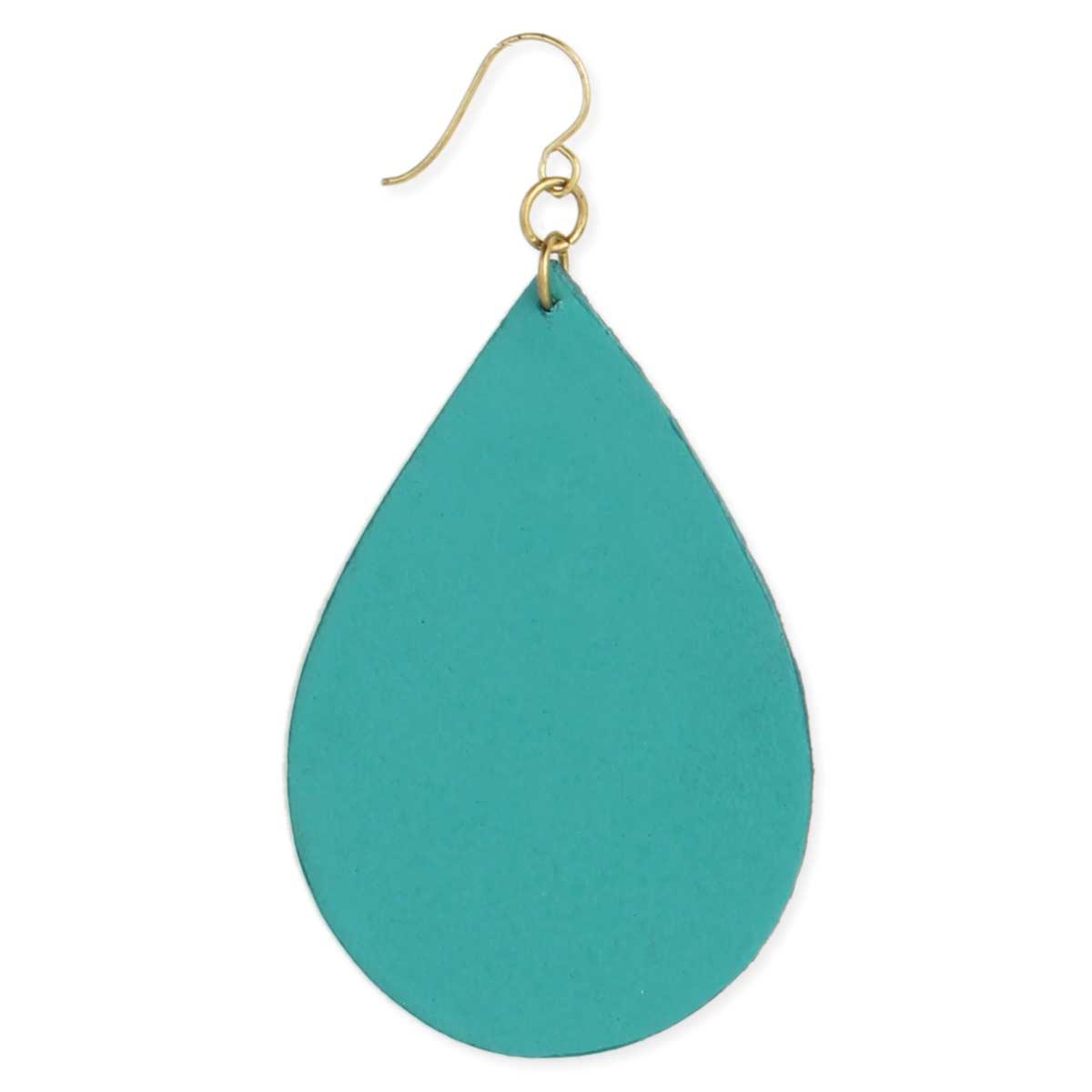 Turquoise Leather Teardrop Earring