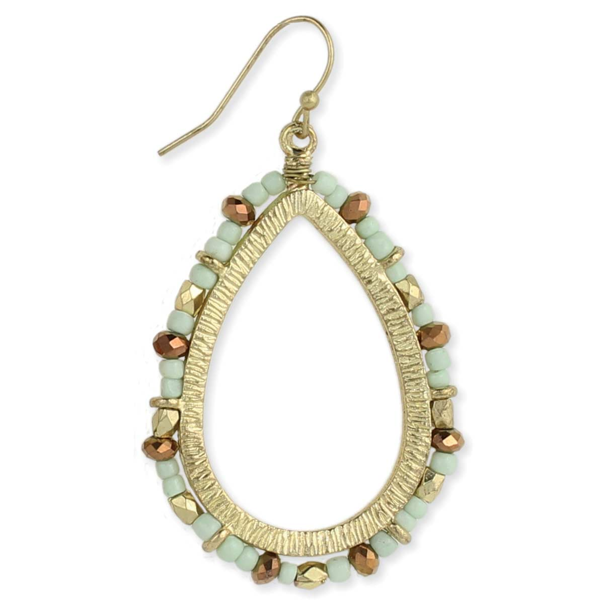 Gold & Mint Beaded Earring