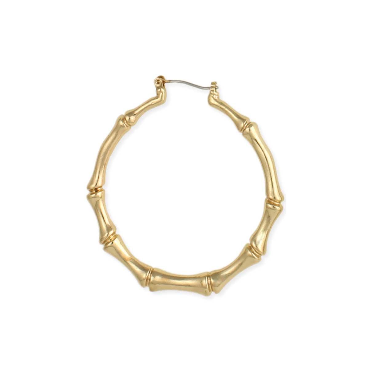 04ce2c10c Gold Bamboo Door Knocker Hoop Earring. View Detailed Images 2 ...