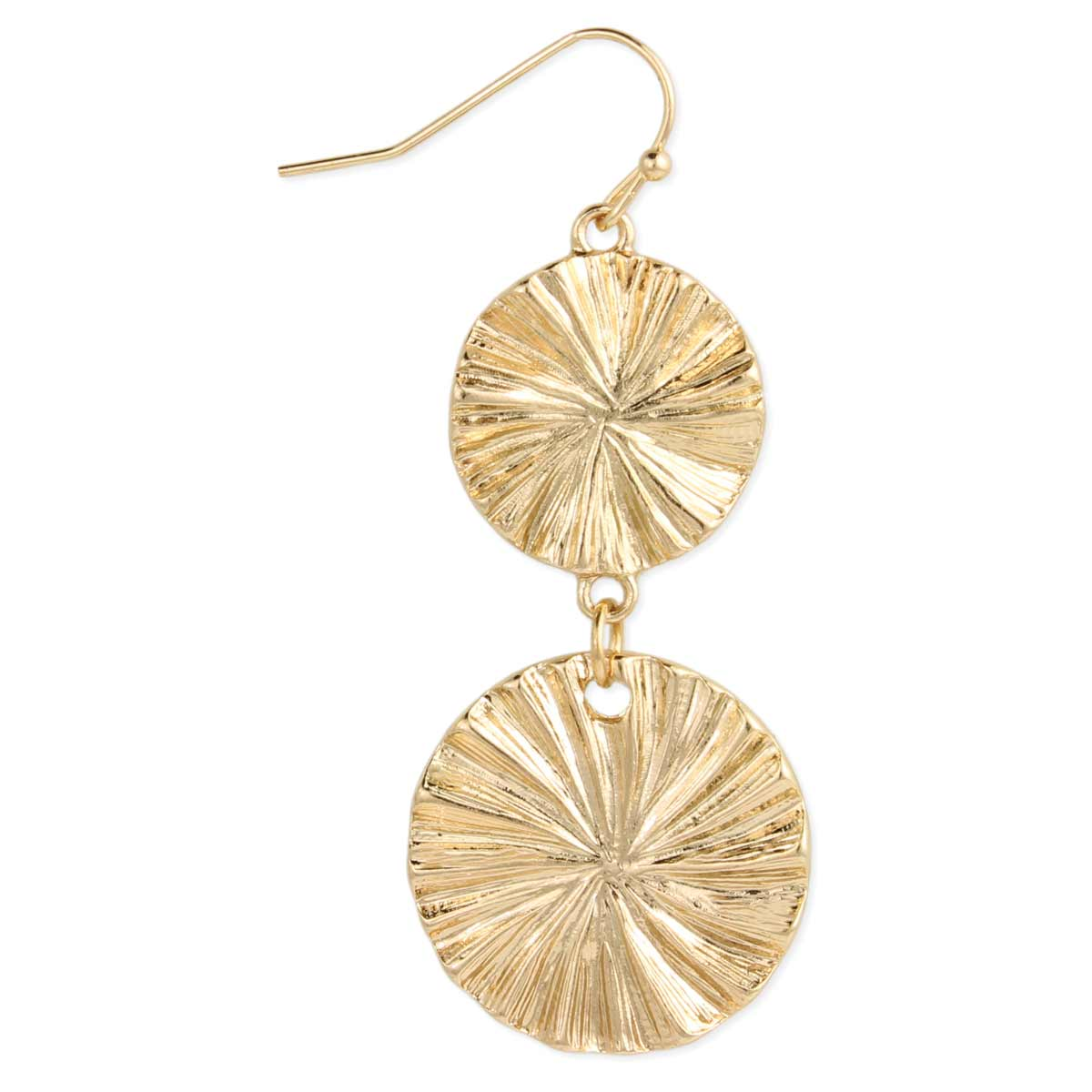 Gold Texture Round Dangle Earrings