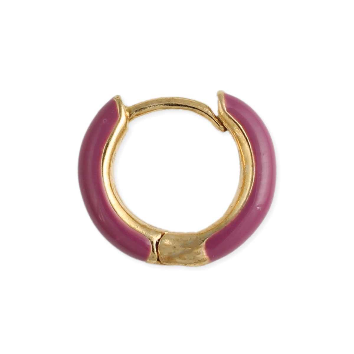 Purple Enamel Huggie Hoop Earring