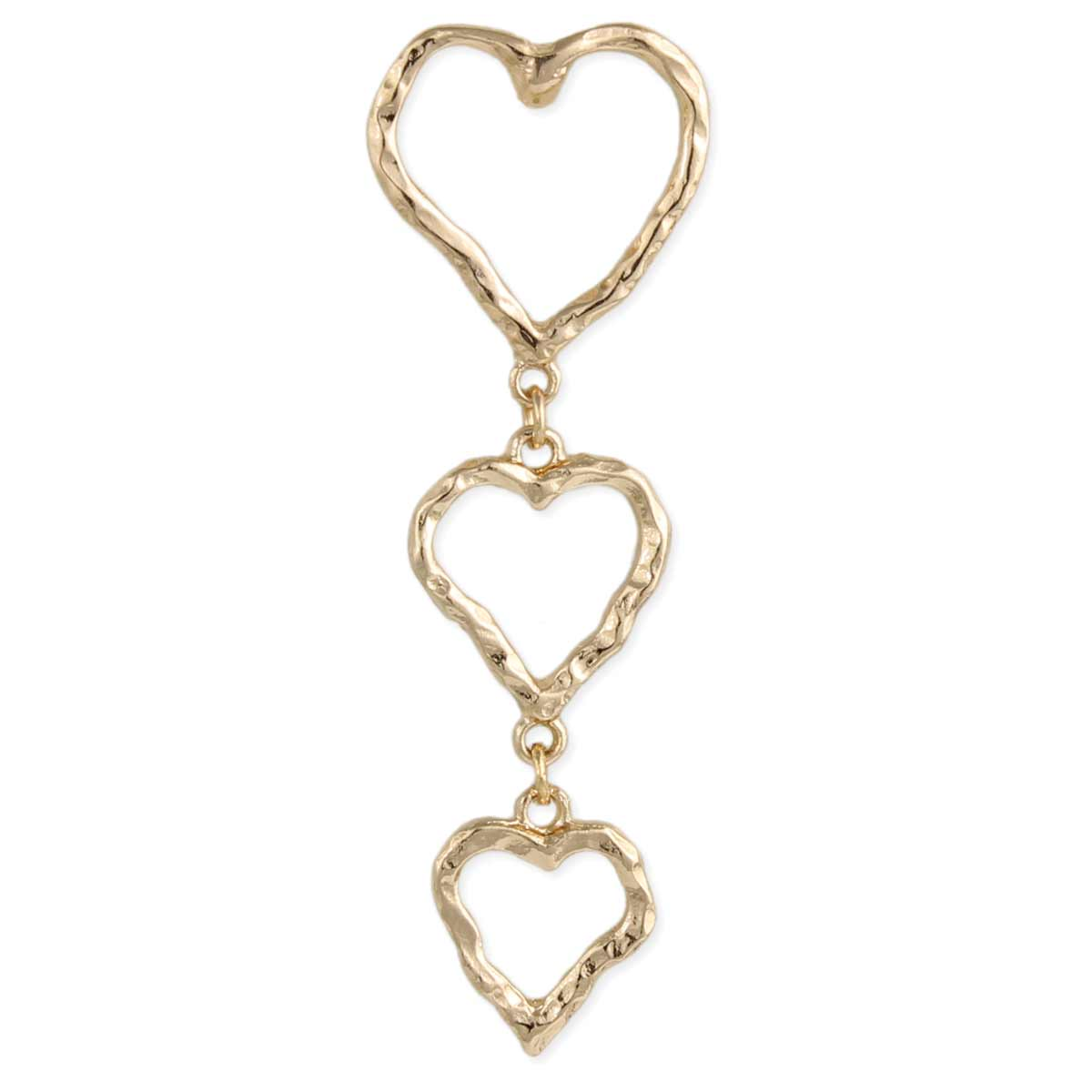 Hammered Gold Heart Post Earring