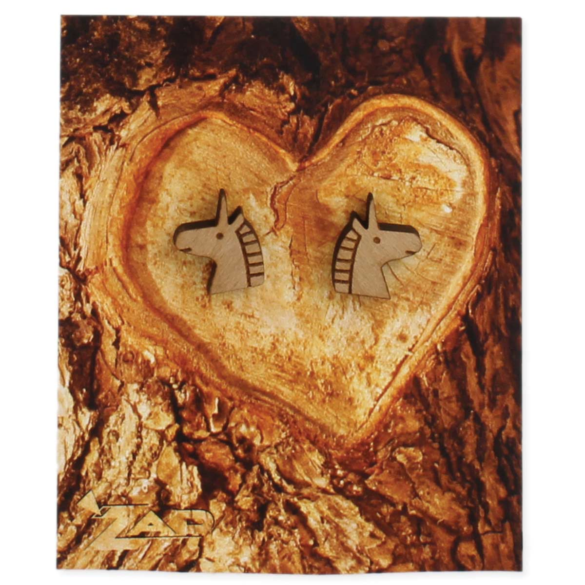 Wood Unicorn Earring on Card