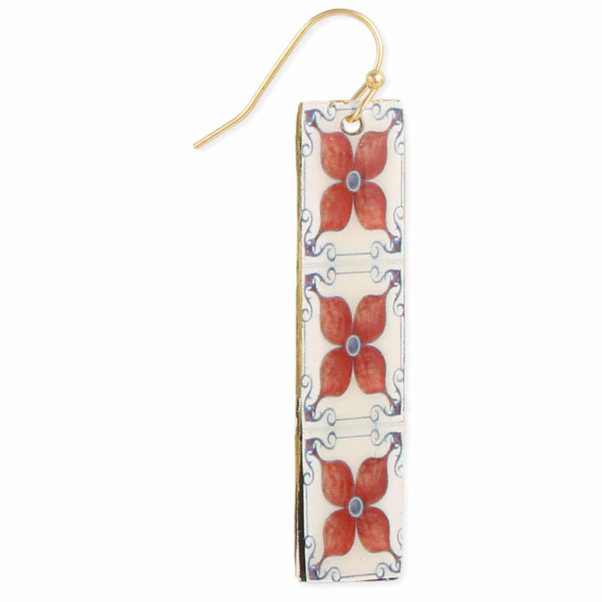 Enameil Tile Print Bar Earrings