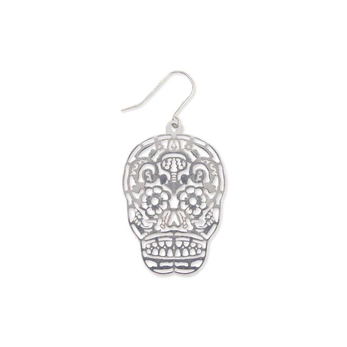 Silver Lacy Sugar Skull Earring