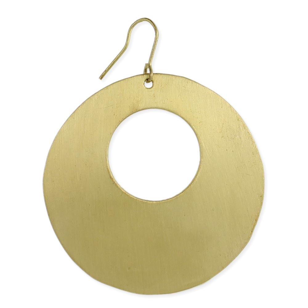 Brushed Gold Cutout Circle Earring