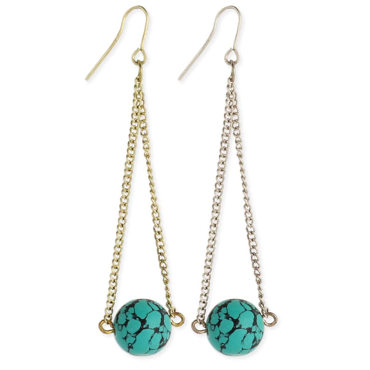 Turquoise Bead & Chain Earring