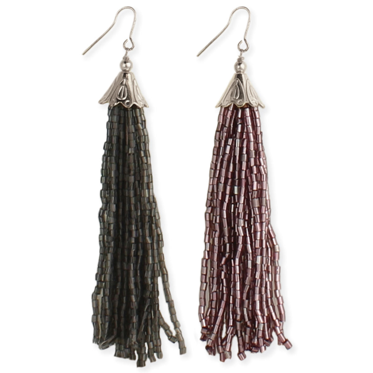 Beaded Long Tassel Earrings