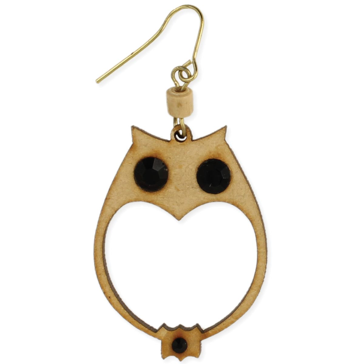 Cutout Wood Owl Earring