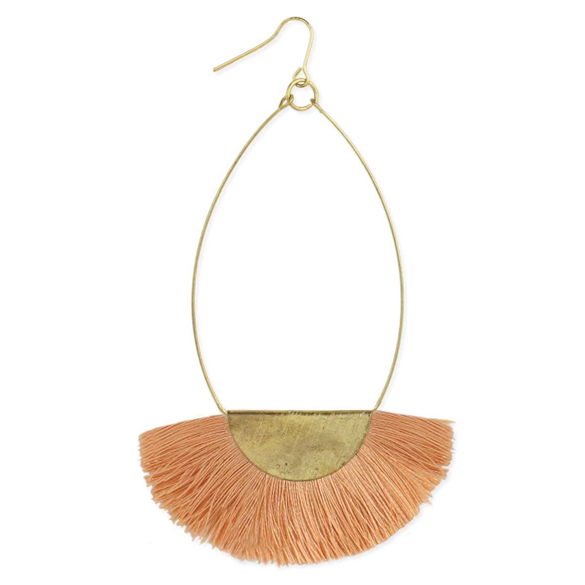 Peach & Gold Fan Fringe Earring