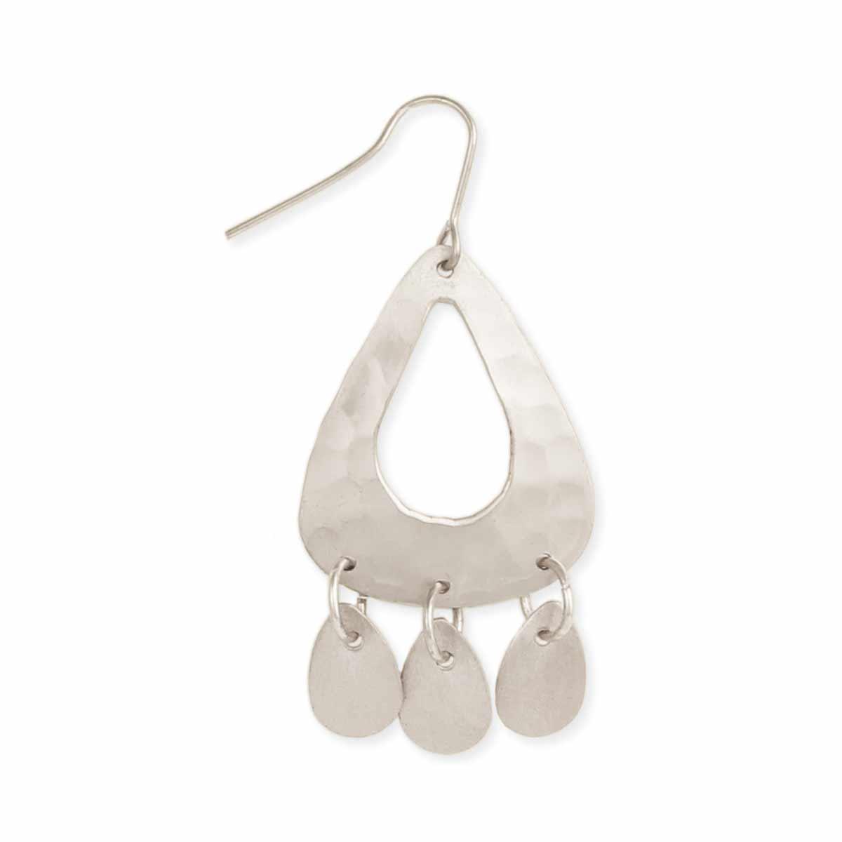 Silver Hammered TEardrop Earring