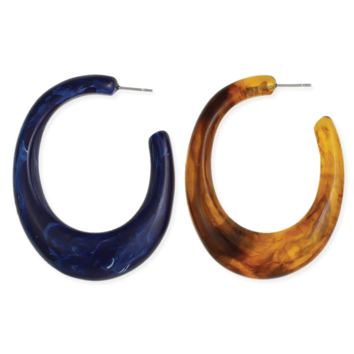 Marbled Resin Hoop Earring