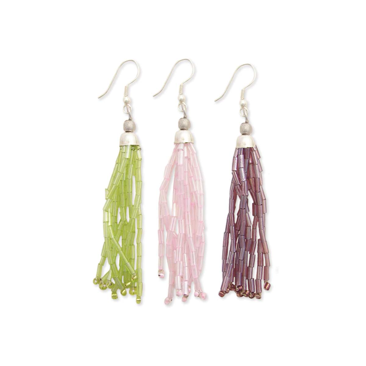 Green, Pink & Purple Bugle Bead Tassel Dangle Earring