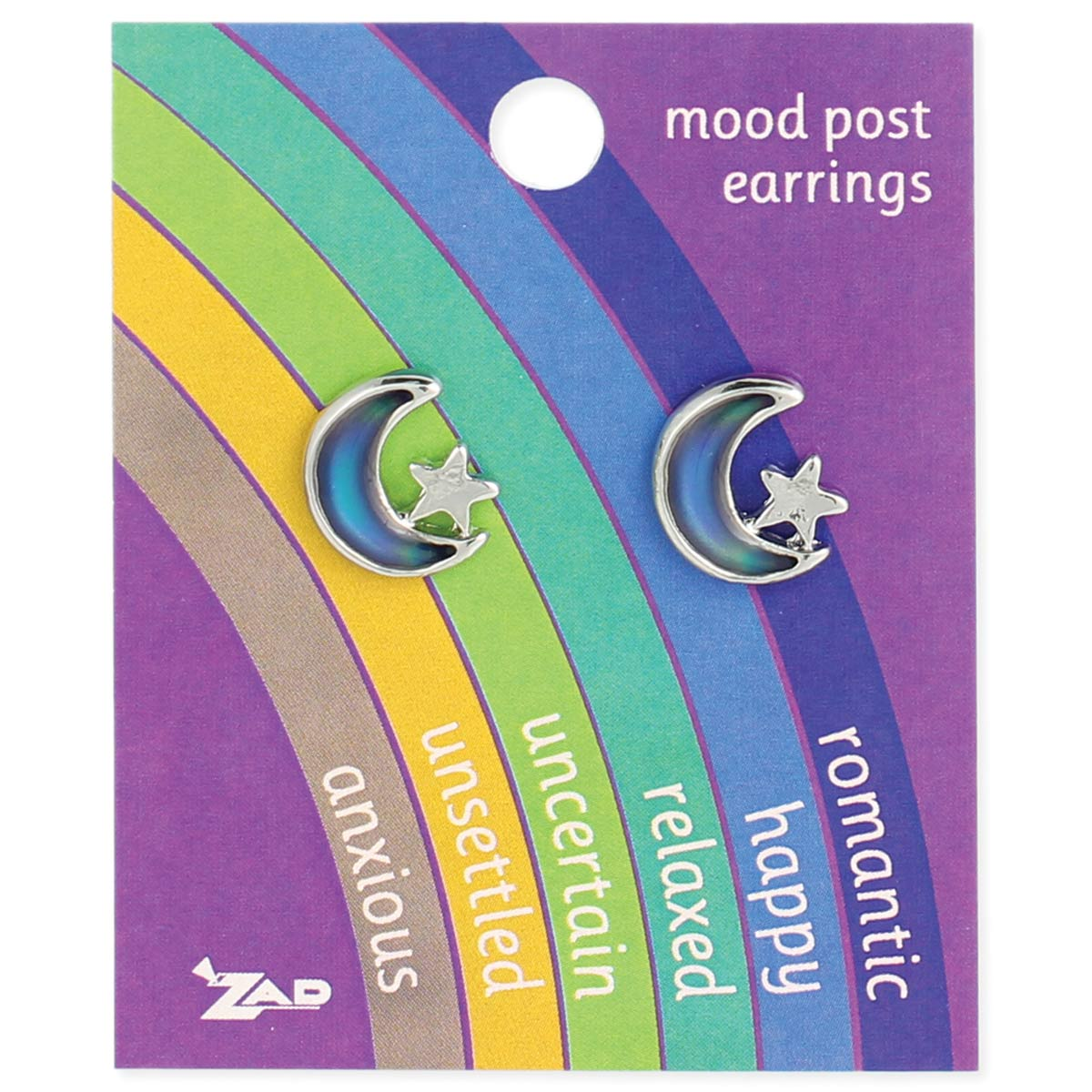 Moon & Star Mood Post Earring on Card