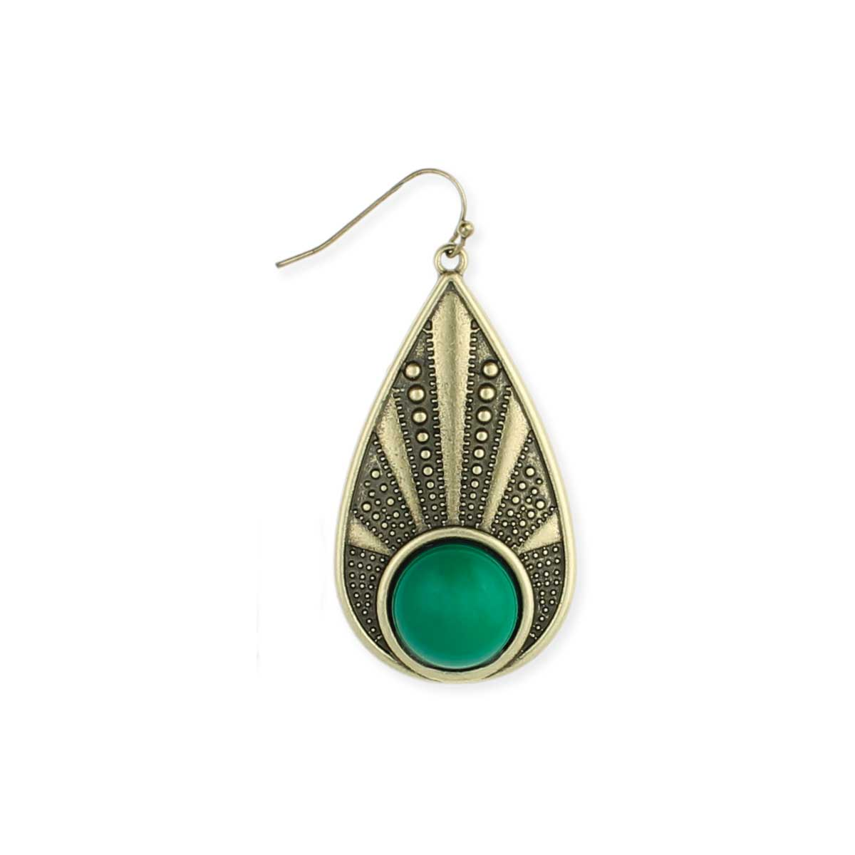 Gold Teardrop Green Bead Earring