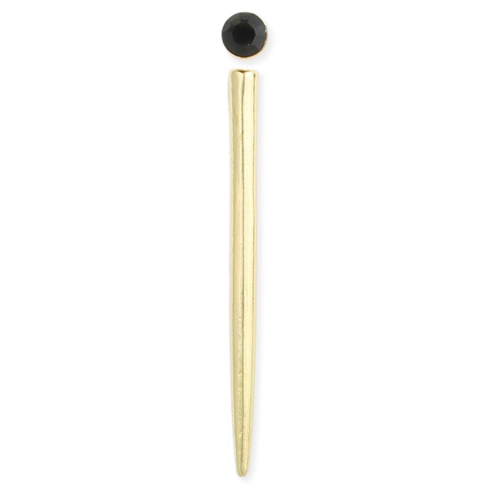 Set Of 2 Gold Spike Black Post Earring