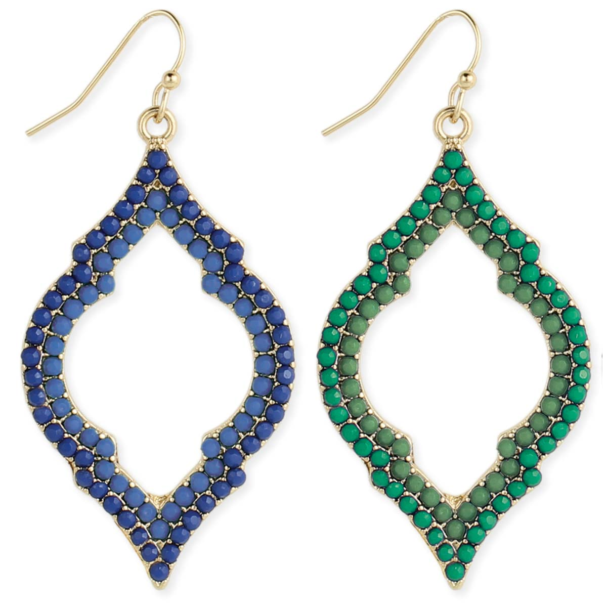 Color Rhinestone Marquis Shape Earrings