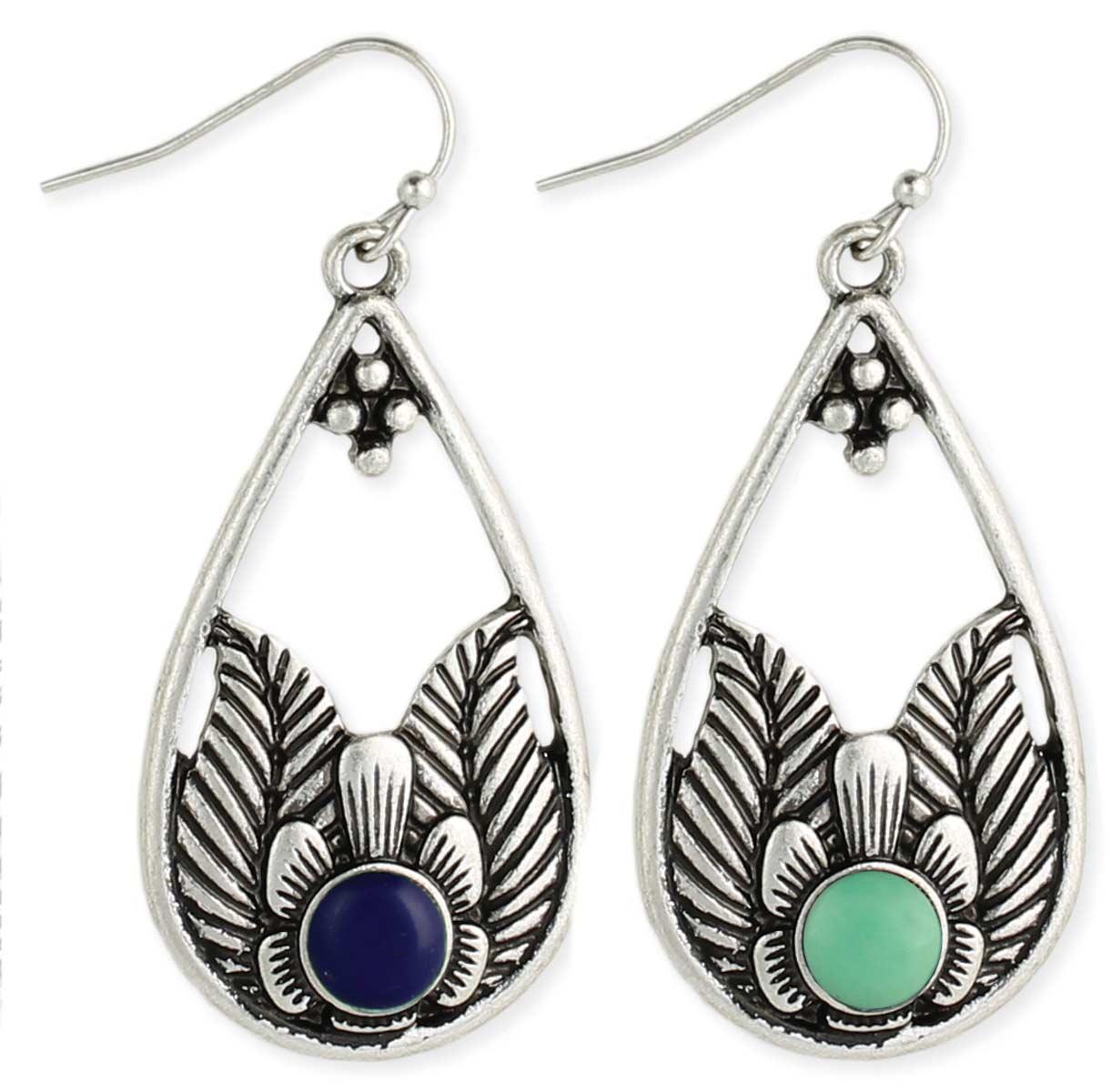 Silver Flower & Stone Teardrop Earring