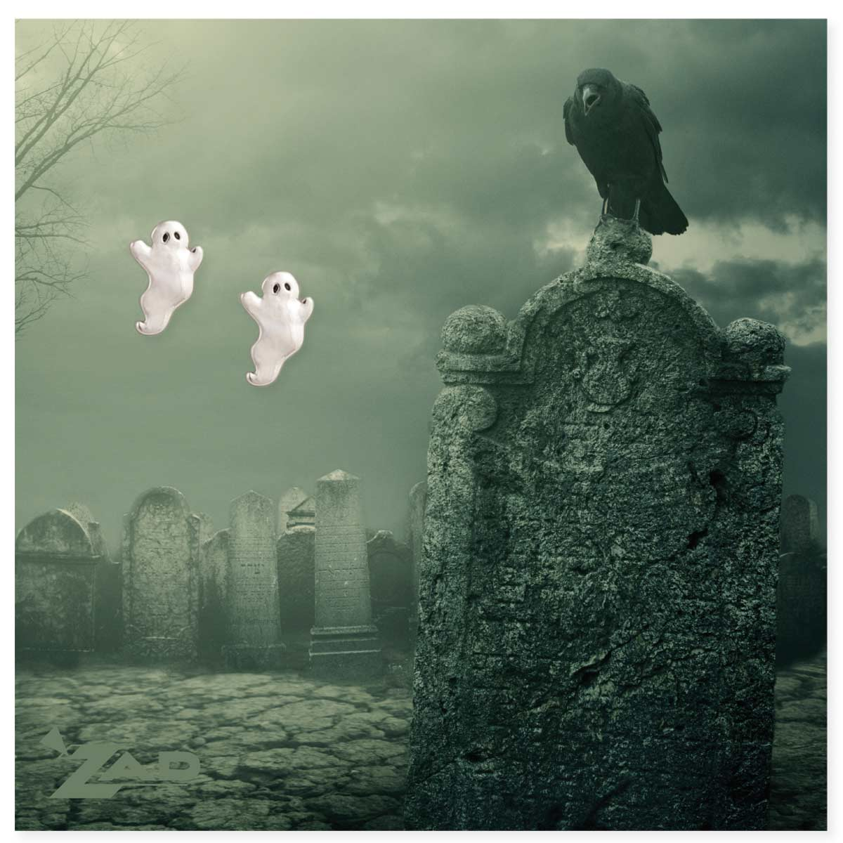 Ghost Post Earrings on Graveyard Picture Card