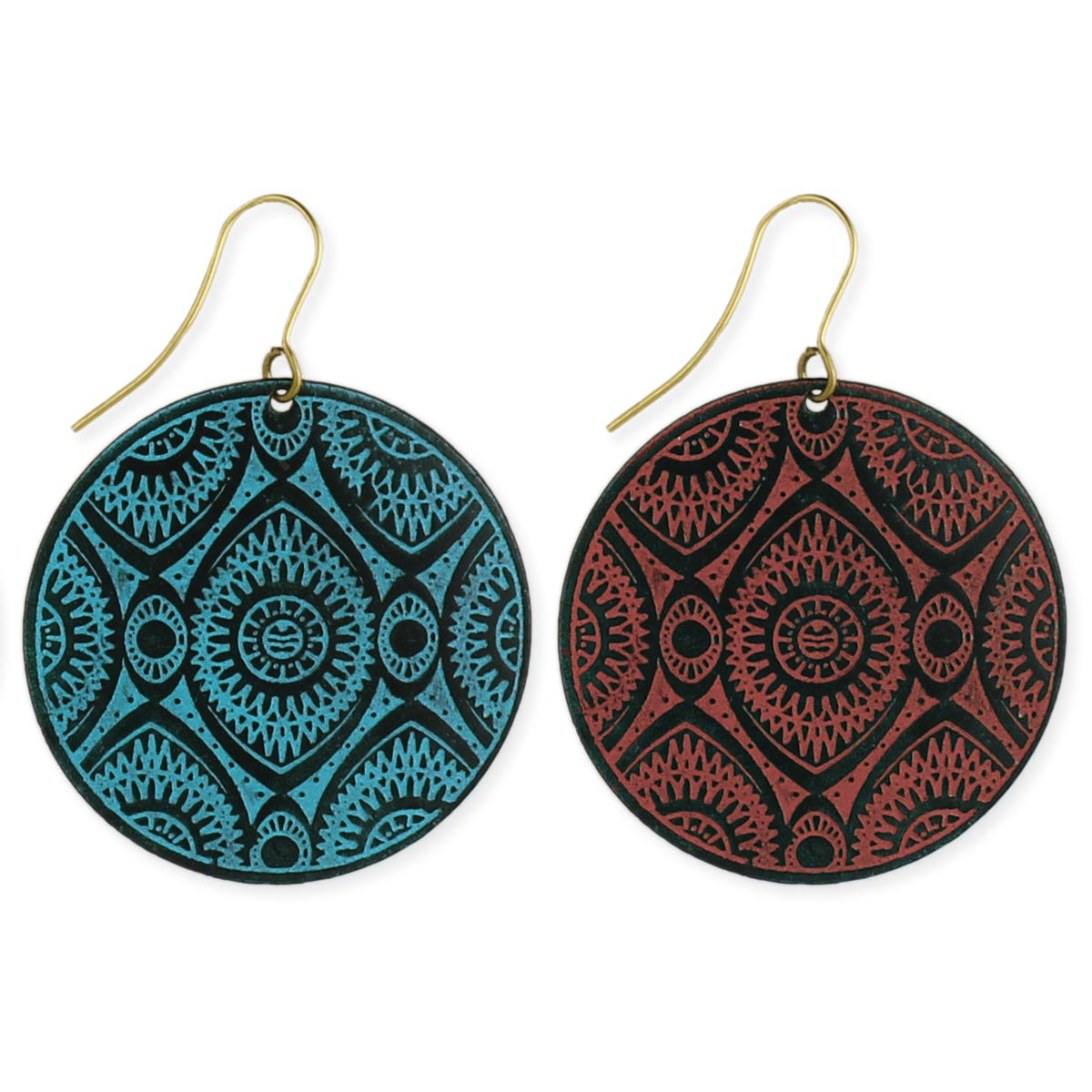 Black Metal Enamel Etched Geometric Round Earring