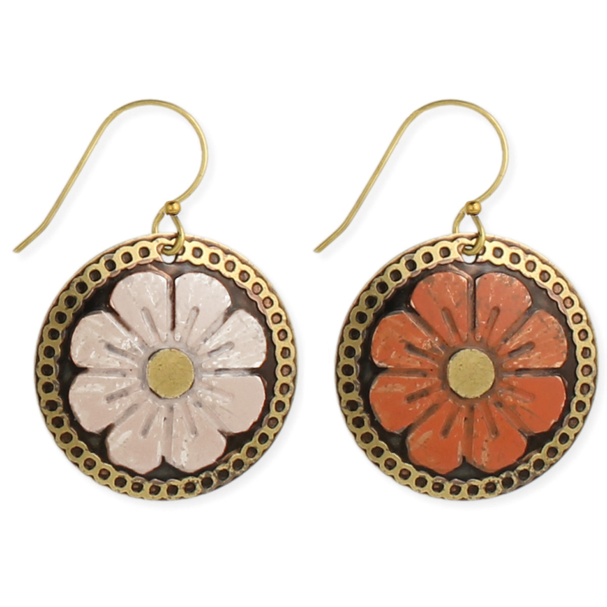 Old World Flower Garden Gold Earrings View Detailed Images 2