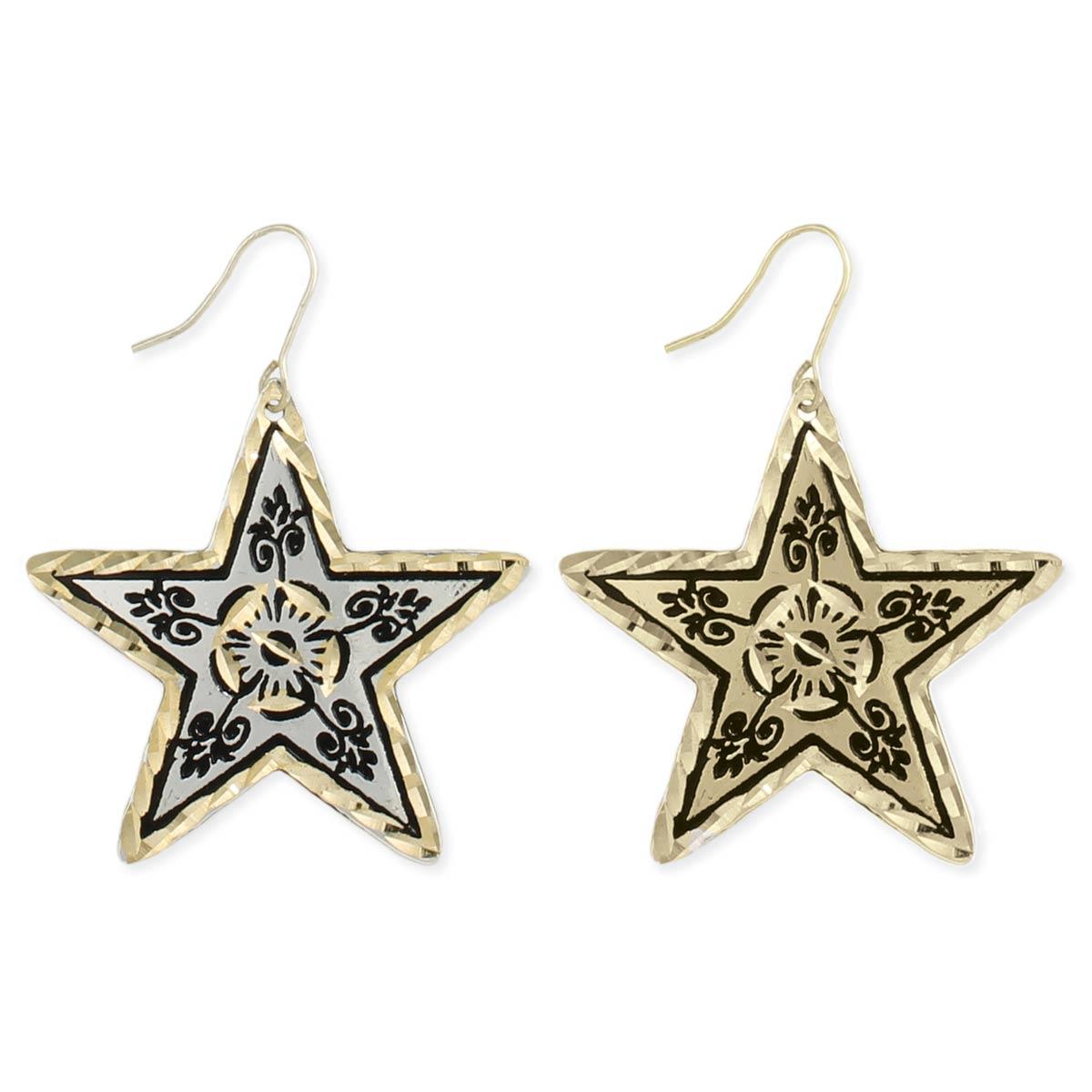 Mixed Metal Star Lasercut Earring