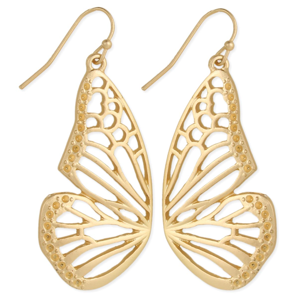 Gold Erfly Wings Earrings View Detailed Images 2