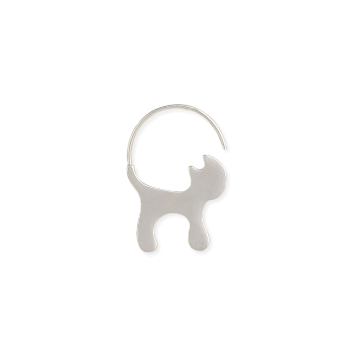Silver Cat Pull Through Earring