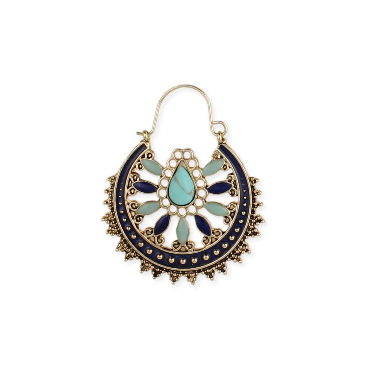Turquoise Gold Blue Enamel Hoop Earring