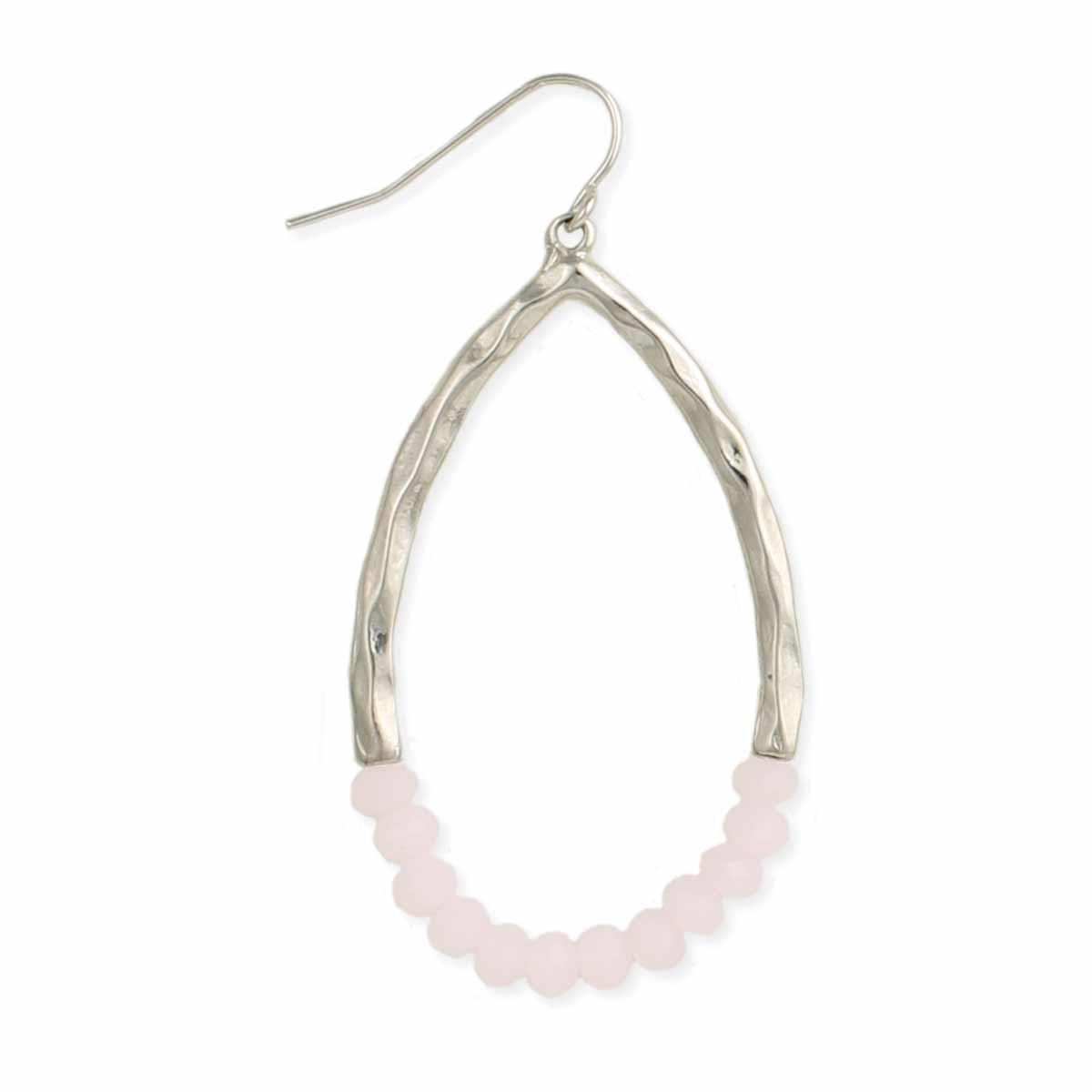 Silver & facet bead teardrop earring