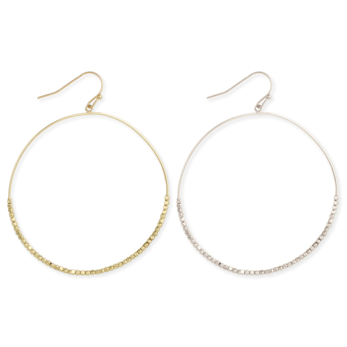 Gold Silver Dewdrops Circle Dangle Earrings