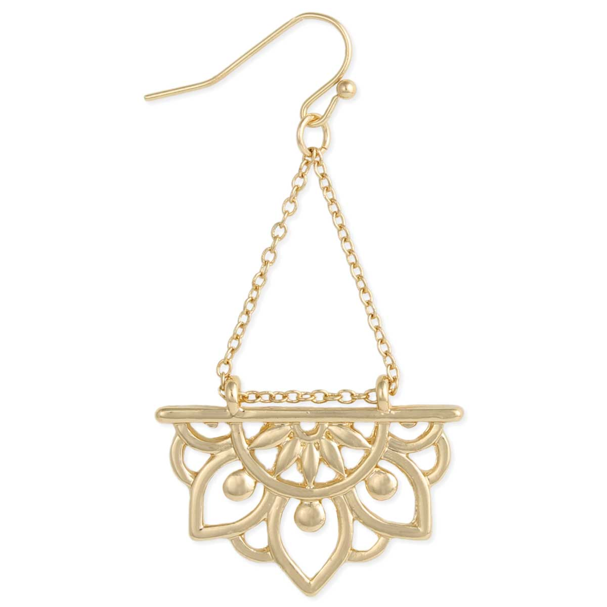 Gold Lotus Flower Dangle Earring