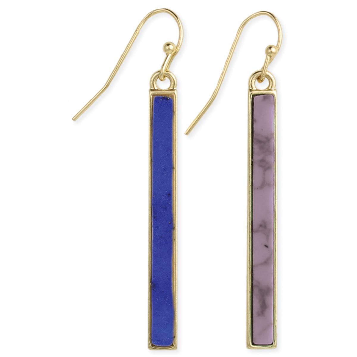 Stone Bar Earrings in Blue & Purple