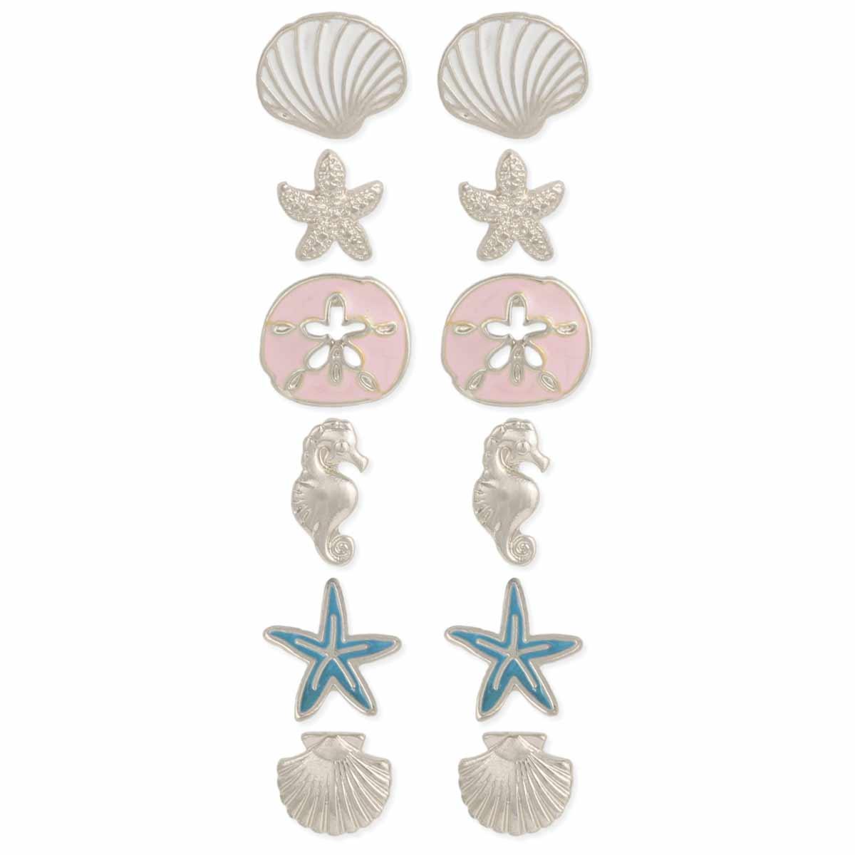 Silver & Enamel Sealife Post Earring Set
