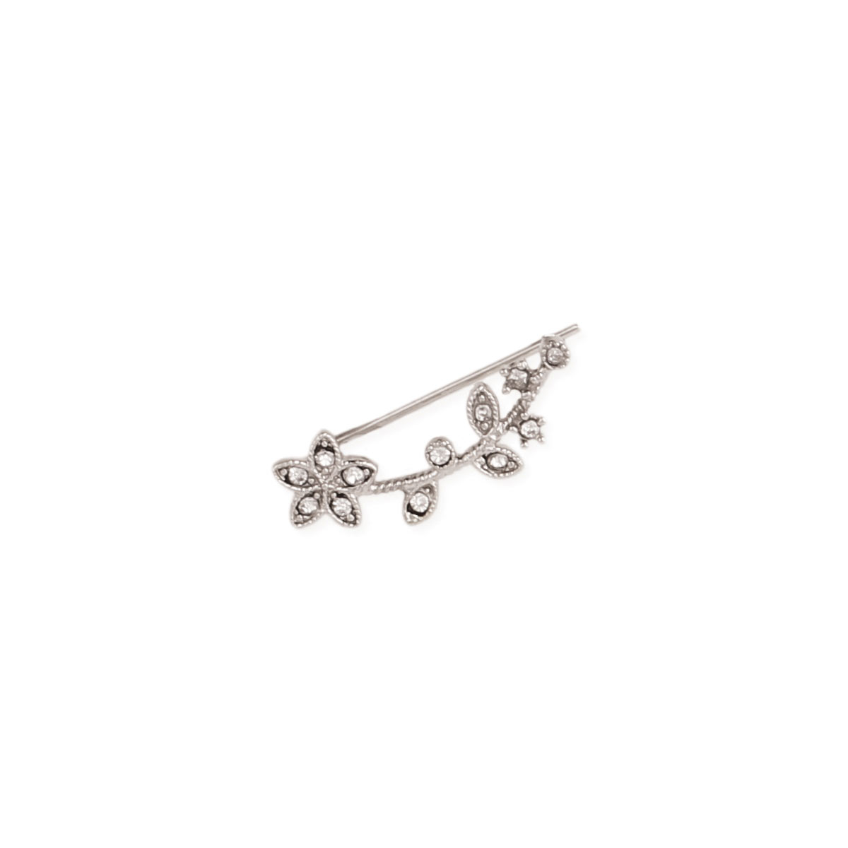 Silver & Crystal Flower Ear Climber