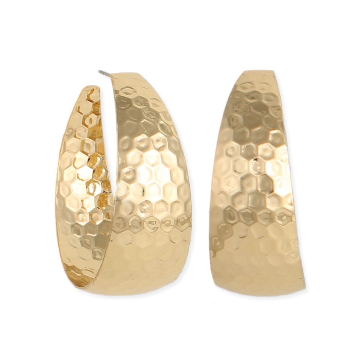 Elegant Hammered Gold Post Hoop Earrings View Detailed Images 2