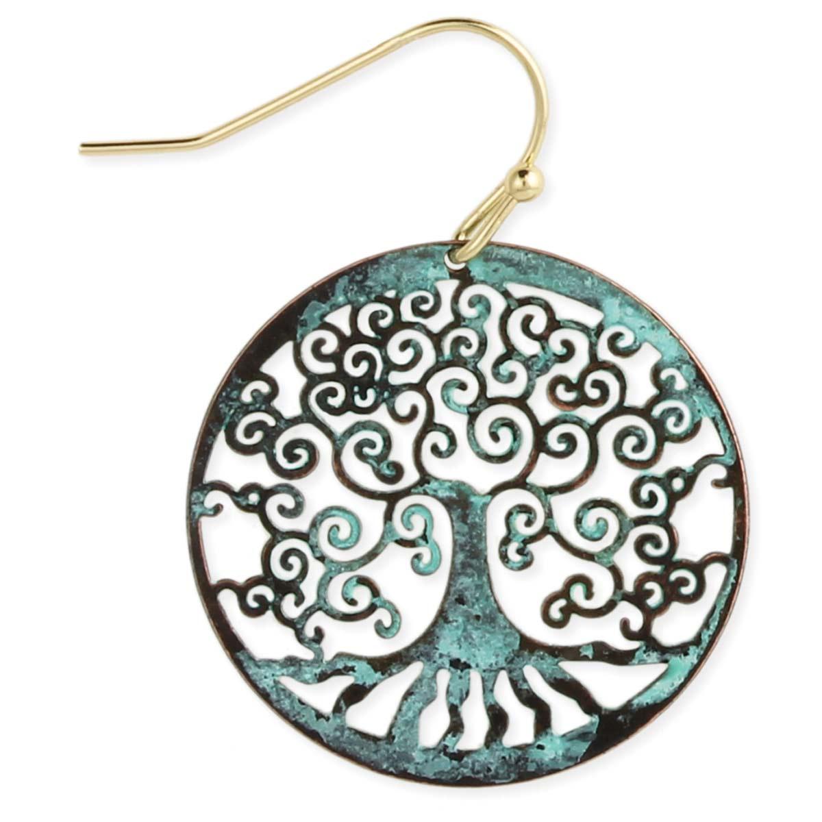Cutout Tree Patina Earring