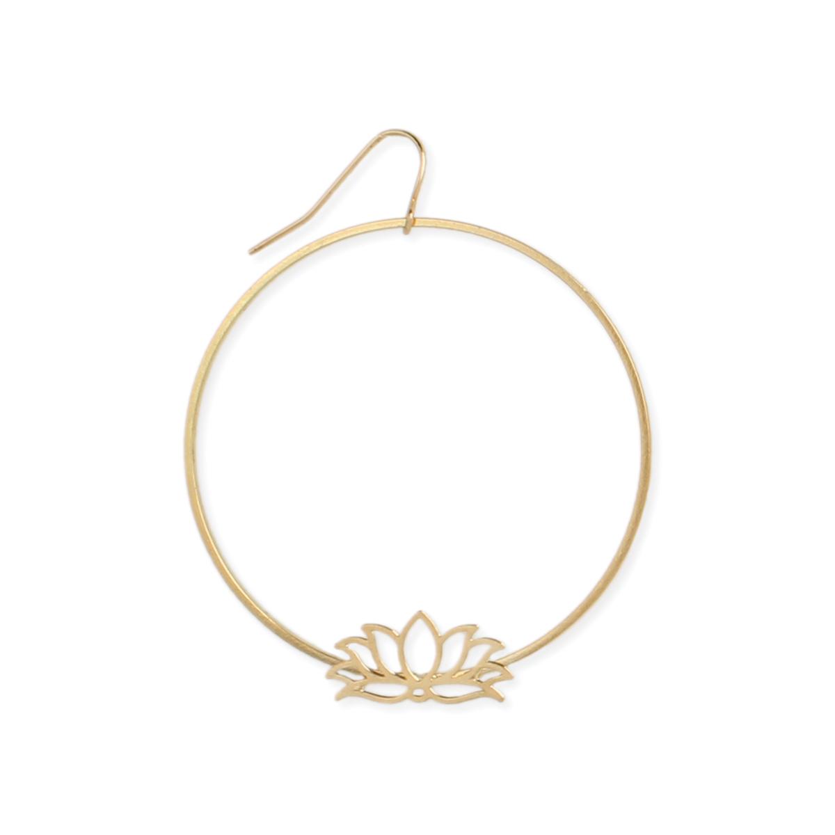 Gold Lotus Flower Circle Earring